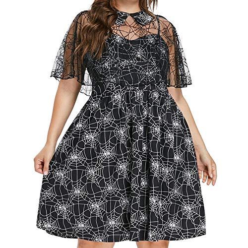 FOTBIMK Halloween Kleid Plus Size, Frauen Casual Party Cobweb Print Garn Sleeveless Hosenträger Kleider mit Schal Kittel (Schwarz, X-Large) (Festliche Pelz-garn)