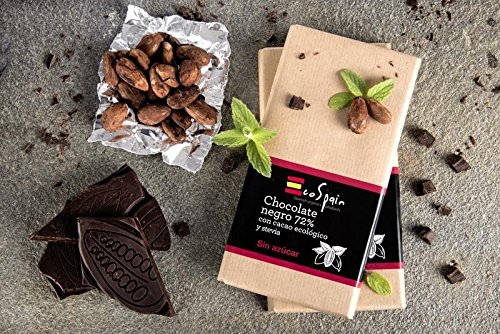 Chocolat noir 72% de cacao biologique avec de la stevia. Cacao biologique sans sucre ajouté. 100 gr