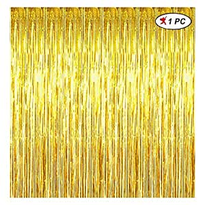 Party Propz Golden Foil Curtain Pack of 1 for Birthday, Anniversaries, Graduation, Retirement, Baby Shower Decoration