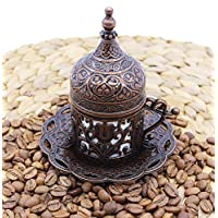 HeraCraft Turkish Greek Arabic Moroccan Coffee & Espresso Cup with Inner Porcelain, Metal Holder, Saucer and Lid, 1 Cup Consists of 4 pieces & Hand Made (Copper)