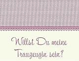 Karte - Willst Du meine Trauzeugin sein? - rosa/ creme Idee Hochzeit