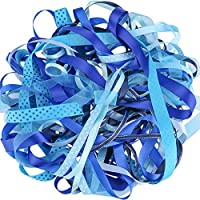 Luxbon Ruban en Satin Organza Gros-Grain Imprimé Paillettes Blanches pour Artisanat DIY Cadeau Lot de 10pcs 2 Mètres (environ) Bleu 20 Mètres(10X2m)