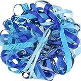 Luxbon 20m (10 Stück je 2m) variieren Stil 6mm - 16mm Satinband Schleifenband Dekoband Geschenkband Organzaband Bänder für Hochzeit Taufe Blau