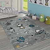 Paco Home Tappeto per Cameretta dei Bambini Grazioso Razzo Universo Terra Astronauta Stelle Luna in Grigio, Dimensione:120x170 cm