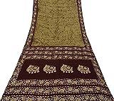 Vintage Indian Reine Seide braun Saree Batik gedruckt