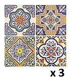 Lote de 12 Pegatinas de pared adhesivas - Motivo cuadrados de cemento - Color OCRE, AZUL Marino, MARRON y VERDE