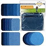 Wheeloo 24-teilig Flicken Patches zum aufbügeln in 5 Farben | GRATIS Geschenk | Denim Jeans | Schwarz & Blau | 4 Größen | Hosen & Jacken | Bügelflicken Set | Dekoration & Reparieren | Baumwolle Reparatur Patches jeansflicken selbstklebend