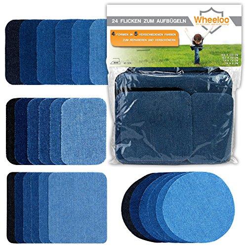 Wheeloo 24-teilig Flicken Patches zum aufbügeln in 5 Farben   GRATIS Geschenk   Denim Jeans   Schwarz & Blau   4 Größen   Hosen & Jacken   Bügelflicken Set   Dekoration & Reparieren   Baumwolle Reparatur Patches jeansflicken selbstklebend