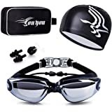 Swim Goggles and Cap Set 4 in 1, UV 400 Protection Lenses Clear Anti-Fog Swimming Goggles Waterproof No Leaking with Nose Cli