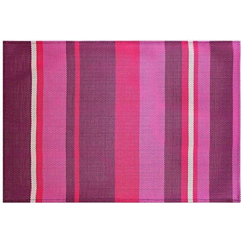 Decor Line 1710132 Set De Table Silky Pvc/Polyester Rayé Prune 47 X 32 Cm - 1710132, Tischset , 32 X 47 Cm , Silky , Pvc , Lila