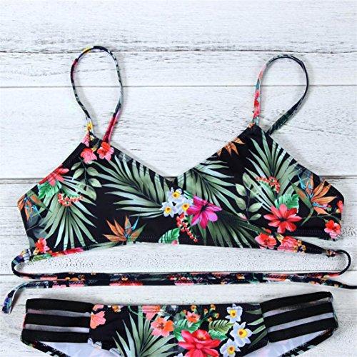 Bluestercool Costumi da Bagno Donna Due Pezzi Bikini Donna Mare Beachwear Push-up Reggiseno Imbottito Verde
