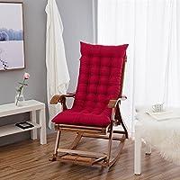 Silla de bambu, cojin de algodon, silla reclinable para viejo, plegable y silla mecedora free otoño - invierno de caña, engrosamiento de ocio (sin sillas) cojin,Cojín del asiento de un recliner,48 * 120 esos rojo vino