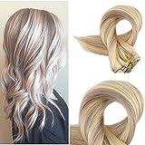 Full Shine 16 Zoll Haar VerläNgerungen Farbe #18 Ash Blonde #613 Blonde Klipp auf Verlängerungen Gerader Haar Extensions Echthaar Best Klipp in Haar 120 Gram