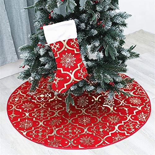 Meiju Weihnachtsbaum Decke,Weihnachtsbaum Rock Dekoration Weinachtsdeko Rund Weihnachtsbaumdecke Röcke Ornaments für Weihnachtsschmuck Baum Rock Deko Schutz (120cm,Rot)