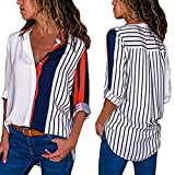 Roiper Womens Stripe Tops, Casual Automne Manches Longues Tops Color Block Stripe Button T-Shirts Blouse (XL)