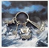 Wikinger Vikings Symbol , Schiff , Axt , Rabe Schlüsselanhänger Metall - 2