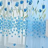 Moresave Tulpe Blumen Tüll Voile Vorhänge Tür Raumteiler Fenster Gardine Schals Trasparent Drapiert, 100 x 200, Blau