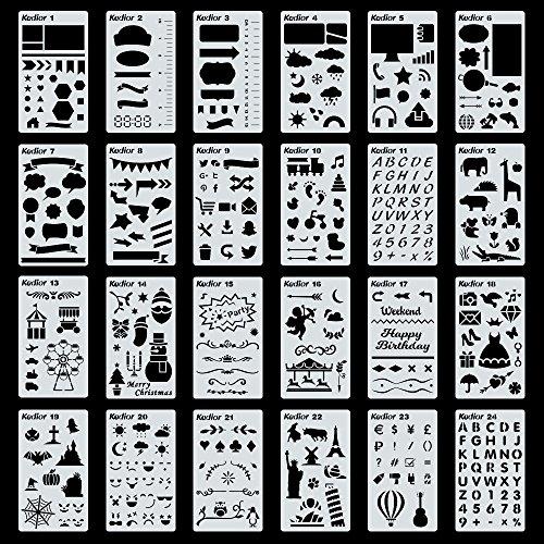 KEDIOR Stencil Bullet Journal,24 Pezzi Bambini Album Disegno Plastica Planner per Fai Da Te Creativo Scrapbooking o Diario miglior prezzo