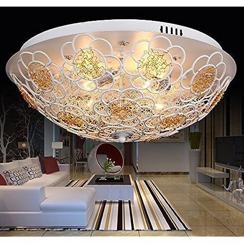 Ooccasion Led Personalizado Grabado De Aluminio Cepillado, Girasol Luz De Techo Redondo Niño Creativo Minimalistas Dormitorios Salón Luz ,24W Blanco