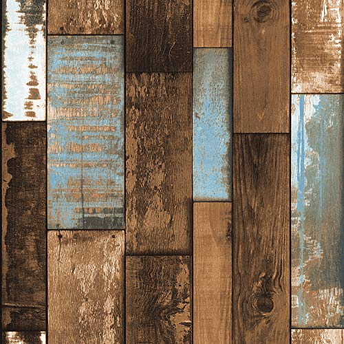 ZHAORLL Retro- Nachahmung Denim Blau Braunes Gewebe Holz Korn PVC Tapete Hintergrund Wand Studio Studie Restaurant Nicht-Selbstklebende 53CM * 10M,Brown (Braune Denim-stoff)