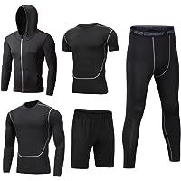 Dooxii Homme 5 Pièces Vêtements de Sport avec Hoodies Vestes Manches Courtes Manches Longues Shirt Compression Collant…