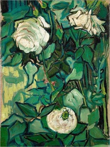 Posterlounge Acrylglasbild 70 x 90 cm: Rosen und EIN Käfer von Vincent Van Gogh - Wandbild, Acryl Glasbild, Druck auf Acryl Glas Bild