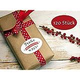 120 Stück Aufkleber Geschenkaufkleber Sticker Frohe Weihnachten Retro-Design rot weiß oval 6 x 2,5 cm