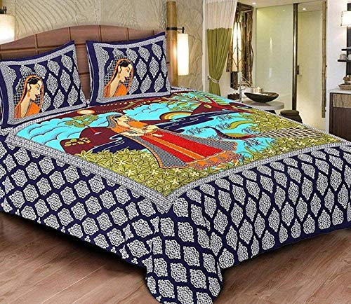 Bed Zone Cotton Rajasthani Jaipuri Traditional Double Bedsheets with 2 Pillow Cover, King Size (Blue)