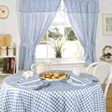 Emma Barclay Molly Gingham Check Kitchen Pencil Pleat Curtains, Blue, 46 x 42 Inch
