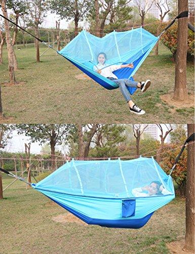 Cozytek Camping Hängematte Moskitonetz  Stoff Fallschirmseide tragbar Rucksackreisen Camping Outdoor Hängematte - 6