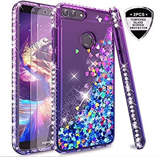 LeYi Case for Huawei P Smart with Glass Screen Protector [2 pack], Glitter Liquid Flow Luxury Clear Transparent Diamond Personalised TPU Silicone Shockproof Cover for Huawei P Smart Purple Blue