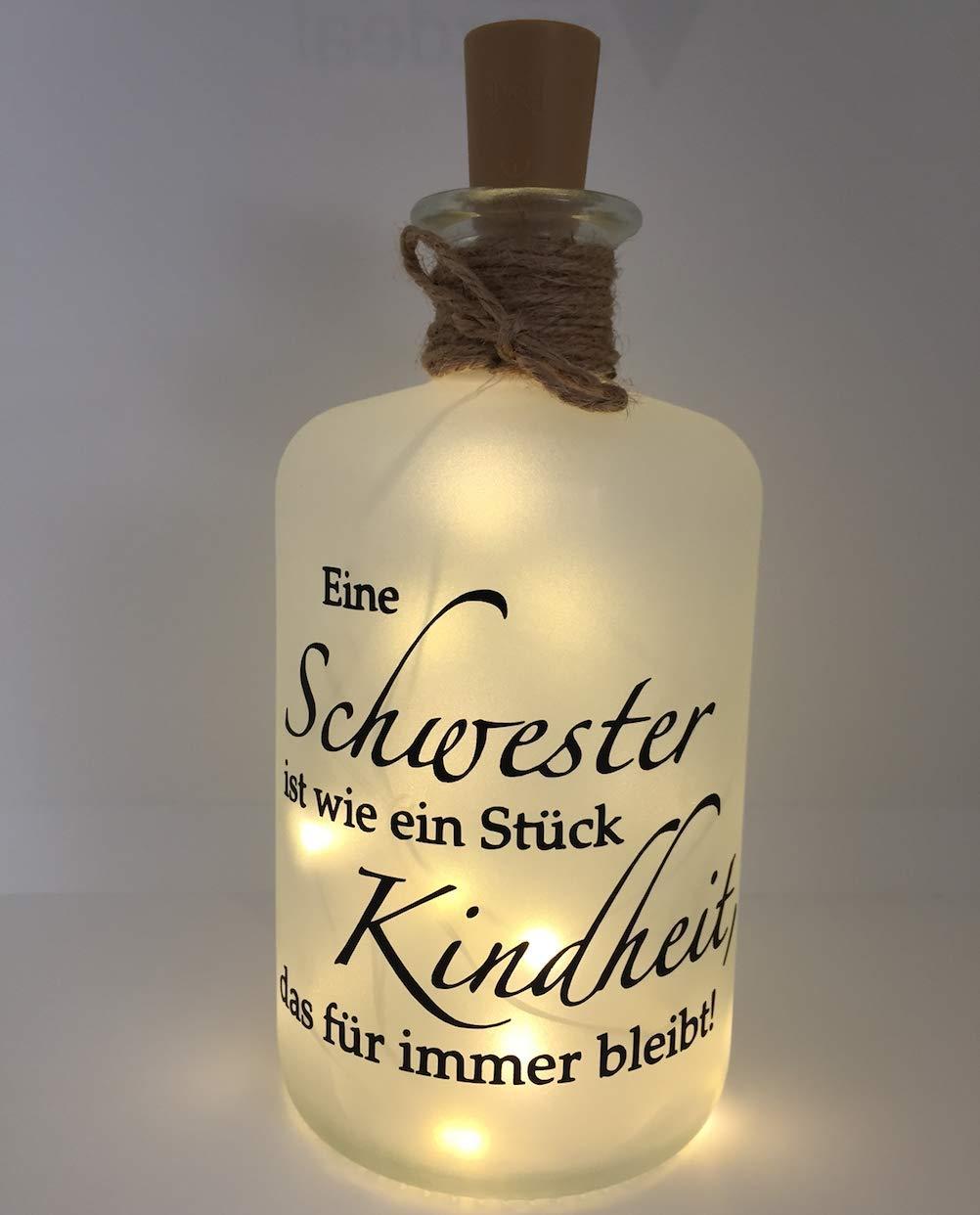 Farbwuselei Flaschenlicht Eine Schwester ist wie EIN Stück Kindheit, das für Immer bleibt Made in Germany