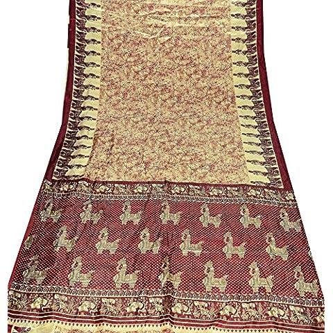 annata indiano sari beige astratto stampata donne Bollywood seta abito arte avvolgere saree materiale usato tenda 5YD drappo fai da te tessuto artigianale arredamento arte - Arte Seta Tende