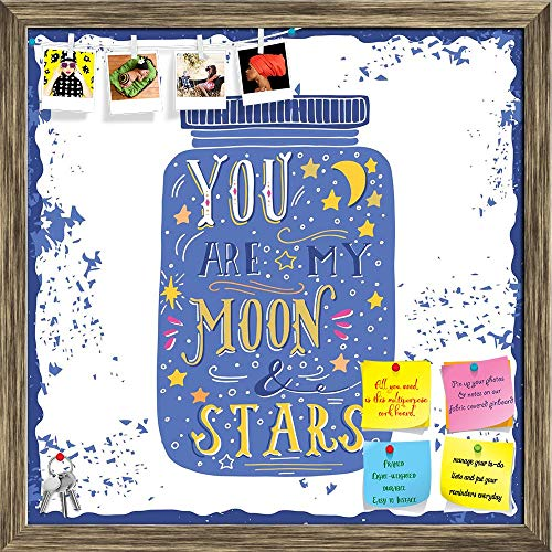 Artzfolio You Are My Moon & Stars D3 Printed Bulletin Board Notice Pin Board | Antique Golden Frame 20 X 20Inch