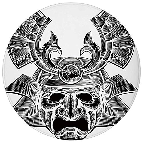 ZMYGH Round Rug Mat Carpet,Japanese,Vintage Ancient Experienced Japanese Soldier Mask with Royal Lines and Shapes,White Black,Flannel Microfiber Non-Slip Soft Absorbent,for Kitchen Floor Bathroom