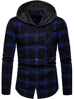 Adelina Classics Mens Casual Shirt Hooded Checked Long Sleeve Shirt Piebo Long Fashionable Completi Sleeve Cardigan Sweatshirt Tops Blouse Hoodie Hooded Tops Jacket Coat Retro Plaid Sweatshirt Autumn