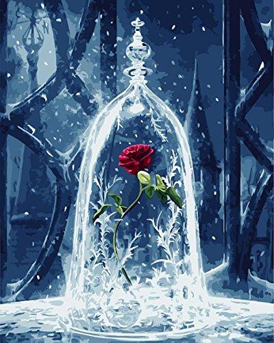 CaptainCrafts DIY Ölgemälde Malen nach Zahlen Erwachsene Kit 16x20 Zoll für Anfänger Kinder, kreative Digitale Leinen Leinwand - Rose Blumen in der Glasabdeckung (Ohne Rahmen) (Vollständige Digitale Abbildung)