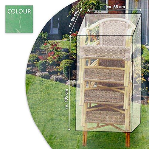 Schutzabdeckung Schutzhülle Plane Abdeckung für Ihre Gartenstühle 105 x 68 x 68 cm aus Kunststoff in grün / grau