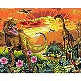 shukqueen DIY Ölgemälde, Erwachsene 's Malen nach Zahlen Kits, Acryl Gemälde Jurassic Park 40,6x 50,8cm, Frameless,Just Canvas