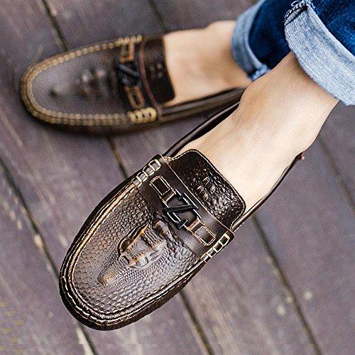 Les Chaussures En Cuir Haricot, Été Pied Tic, Paresseux, Chaussures, Crocodile, Des Souliers Gold