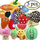 Zerlar Pet Puppy Katzen Hunde Plüsch quietschende Spielzeuge Früchte Donuts Fische Knochen Hausschuhe Crew Spielzeug 5pcs Zufällige