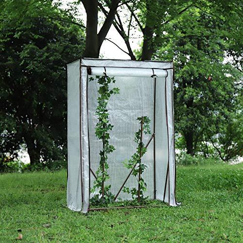 Sekey Foliengewächshaus, Gewächshaus klein, Tomatenhaus, Treibhaus mit Tür zum Aufrollen, Frühbeet, Tomatengewächshaus, Gemüse, Blumen, Obst, Garten, 100 x 50 x 150 cm, weiß