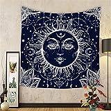 Tapisserie murale indienne psychédélique céleste mandala lune et soleil hippie à suspendre tapisserie décoratifs (Hyc20), N°4, 150X130cm