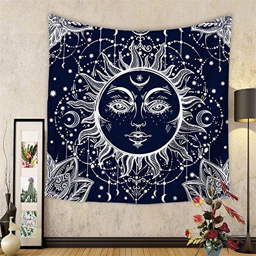 HANSHI Wandteppich mit indischem Stil brennend Sonne und Mond Eizigartiges Design bringt Ihr Zimmer exotisches Gefühl HYC20(4#)