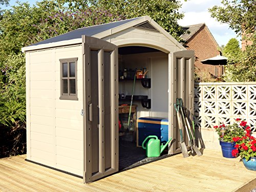 Keter Factor Outdoor Plastic Garden Storage Shed, Beige, 8 x 6 ft