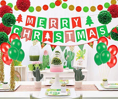 oration Set,Frohe Weihnachten Banner mit Baum,DIY Weihnachtsfeier Hängende Papier Poms,Dekor Garland Bunting Banner,Hängende wirbelt Weihnachten Ballon Dekorationen ()