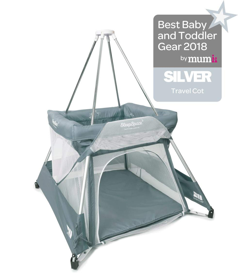 BabyHub SleepSpace Travel Cot with Mosquito Net, Grey BabyHub Three cots in one; use as a travel cot, mosquito proof space and reuse as a play tepee Includes extra mosquito net cover that can be securely in place Can be set up and moved even while holding a baby 1