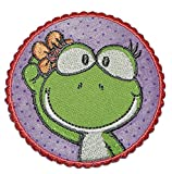 alles-meine.de GmbH Nici Frosch Mädchen rund 6,8 cm * 6,8 cm Bügelbild Aufnäher Applikation - Froschmädchen auf Blume liegend Blüte rund