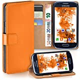 MoEx Samsung Galaxy S3 Mini | Hülle Orange mit Karten-Fach 360° Book Klapp-Hülle Handytasche Kunst-Leder Handyhülle für Samsung Galaxy S3 Mini S III Case Flip Cover Schutzhülle Tasche