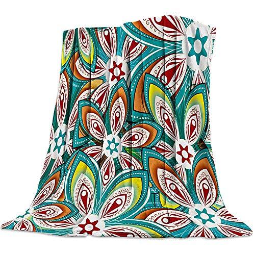 utong Bettdecke Henna Decke Decke für Schlafzimmer Wohnzimmer Sofa Couch Mandala Blumen Lebendige Farbe Ornamental Ethnische Illustration